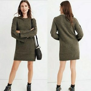 Madewell Donegal Button Olive Sleeve Sweater Dress